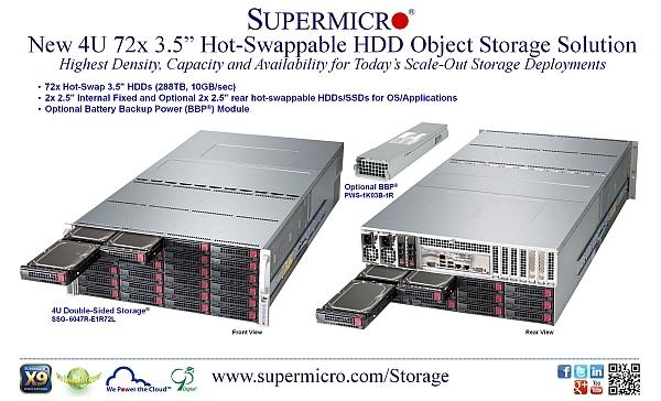Supermicro storage con dischi rigidi sostituibili a caldo 4U 72x 3.5
