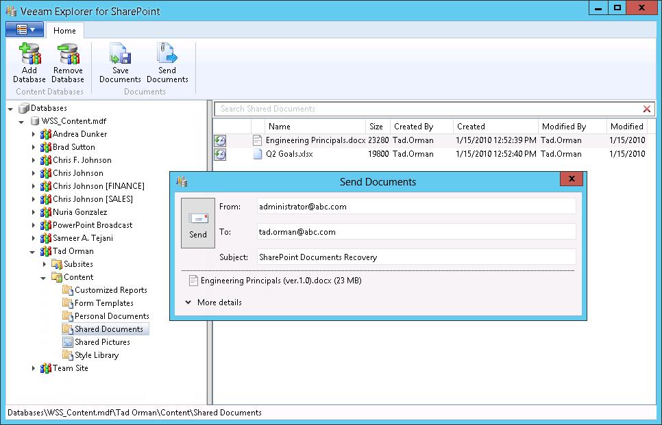 Veeam Explorer per Microsoft SharePoint: send