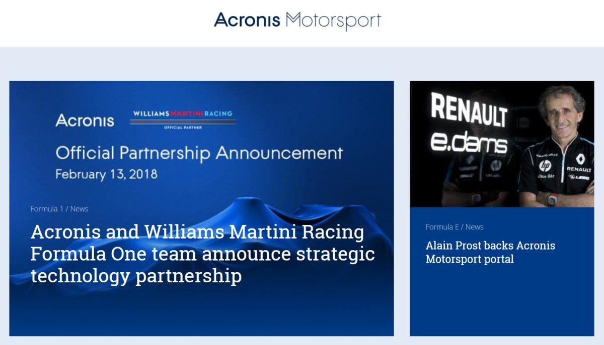 Acronis Motorsport, un canale di informazione online dedicato alla tecnologia nell'automobilismo
