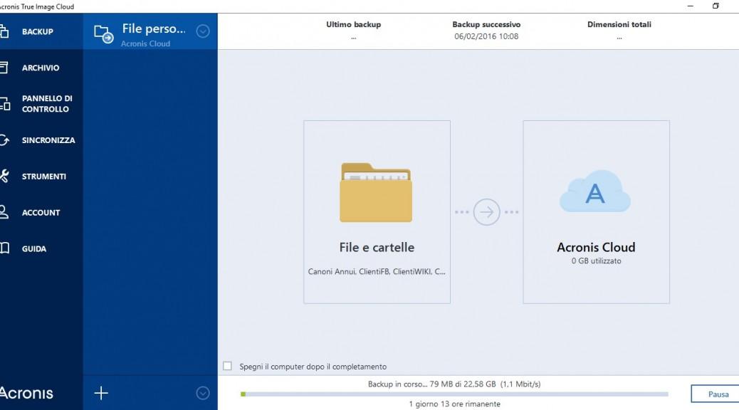 Acronis True Image Cloud screenshot